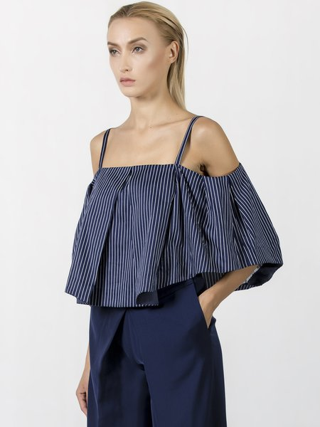 Dark Blue Casual Stripes Printed Spaghetti Poplin Cropped Top