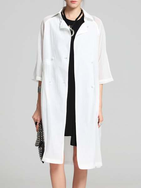 White Casual A-line Split Shirt Collar Trench Coat