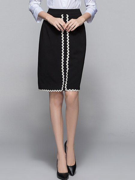 Black Sheath Color-block Midi Skirt