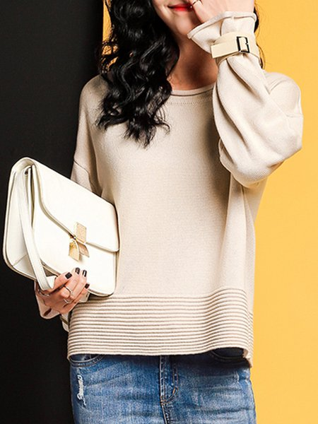 Bell Sleeve Crew Neck Solid H-line Sweater