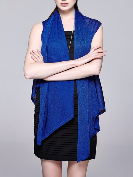 Royal Blue Solid Asymmetrical Sleeveless Cardigan - StyleWe.com
