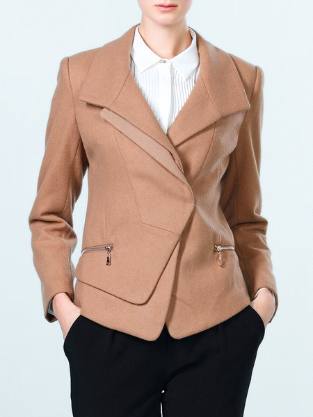 Camel Lapel Zipper Long Sleeve Solid Blazer