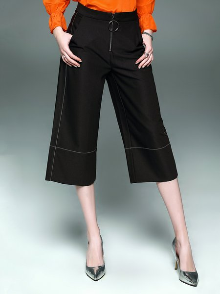 Black Cotton-blend Solid Casual Paneled Wide Leg Pant