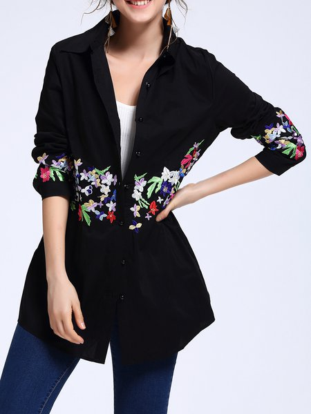 Casual Shirt Collar Embroidered H-line Tunic