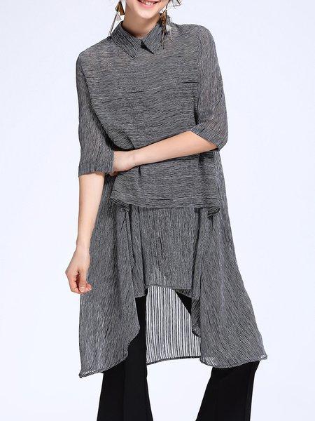 Gray 3/4 Sleeve Shirt Collar Silk-blend Asymmetrical Tunic