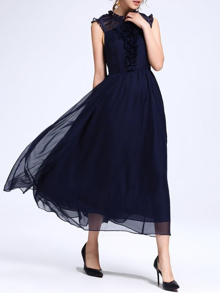 Navy Blue Sleeveless Appliqued Ruffled Swing Party Dress