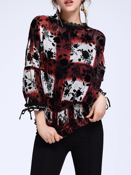 Floral Ruffled Shirred Casual Long Sleeve Tops