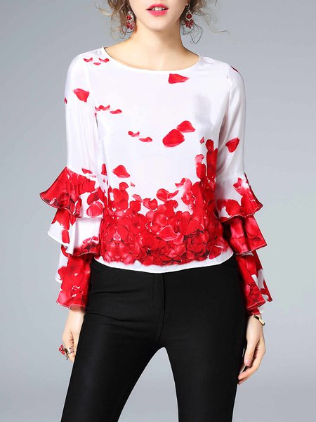 Red H-line Frill Sleeve Floral-print Casual Blouse
