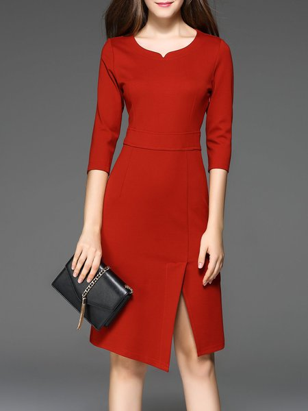 V Neck Solid Elegant 3/4 Sleeve Cotton Work Dress