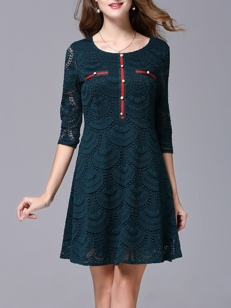 Solid Guipure Lace Color-block 3/4 Sleeve Midi Dress