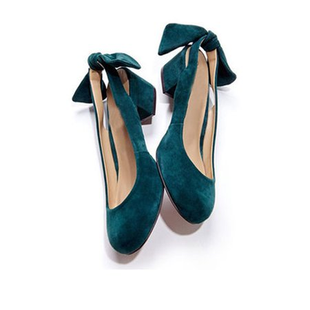 Plus Size Bowknot Velet Spring Chunky Heels