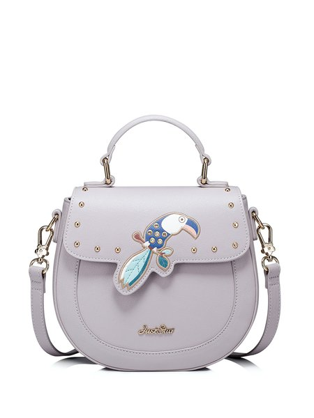 Light Gray Embroidered PU Magnetic Sweet Crossbody Bag