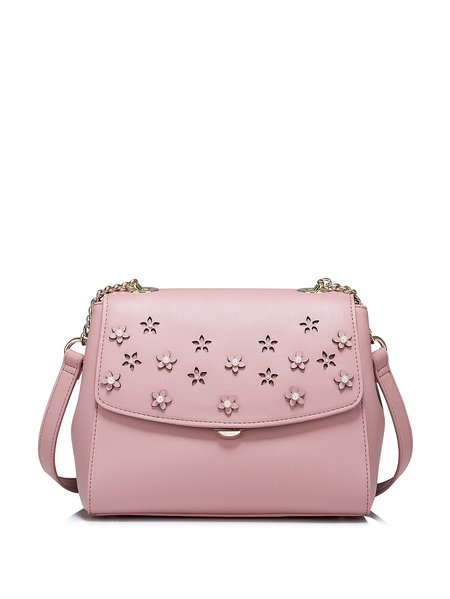 Pink Flowers Embellished PU Sweet Crossbody Bag