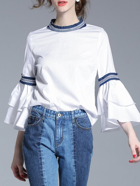 Plus Size White Cotton Printed Stand Collar 3/4 Sleeve Blouse