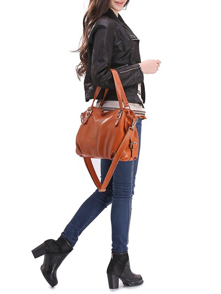 Solid Zipper Full-grain Cowhide Leather Shoulder Bag