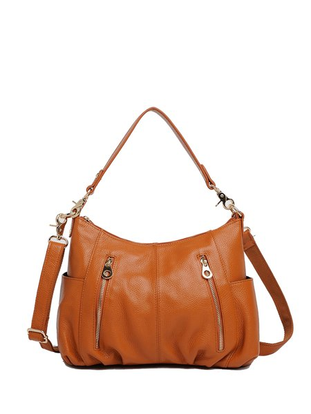 Casual Zippers Full-grain Leather Shoulder Bag