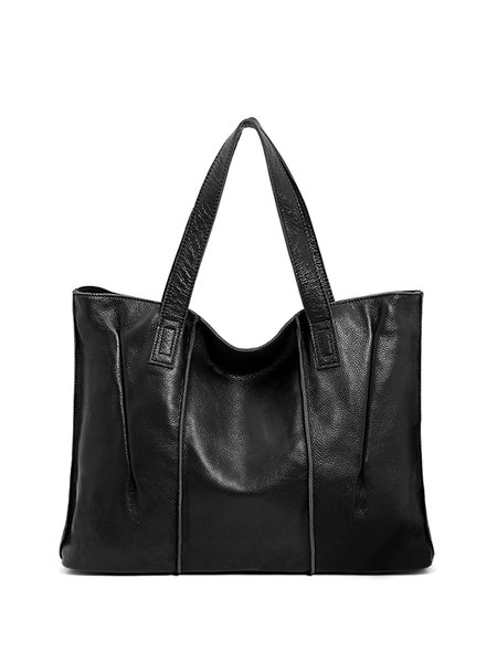 Large Solid Full-grain Cowhide Leather Casual Zipper Tote