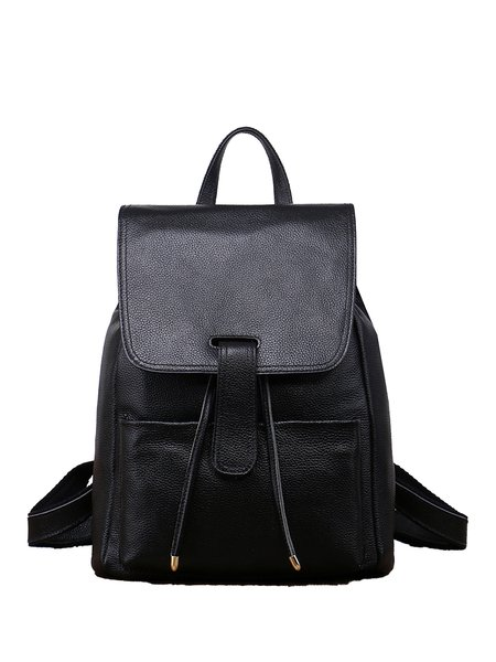 Large Zipper Casual Full-grain Cowhide Leather Backpack