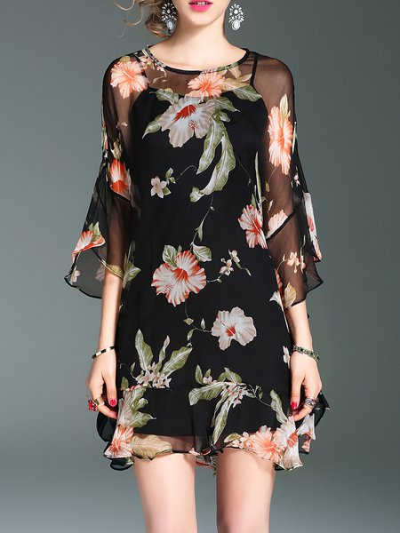 Black Floral-print Raglan Sleeve Crew Neck Silk Holiday Dress