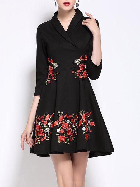 Black V Neck Floral-embroidered A-line Casual Mini Dress