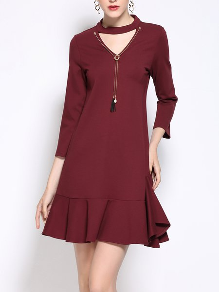 Cutout 3/4 Sleeve Flounce Cotton-blend Choker Neck Mini Dress