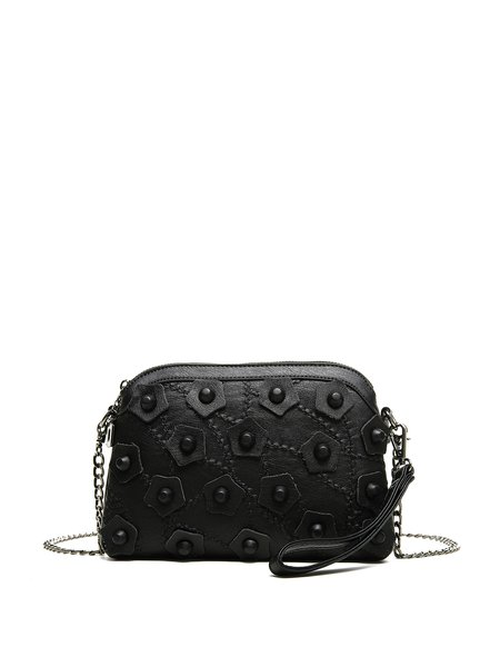 Black Leather Casual Zipper Appliqued Crossbody Bag