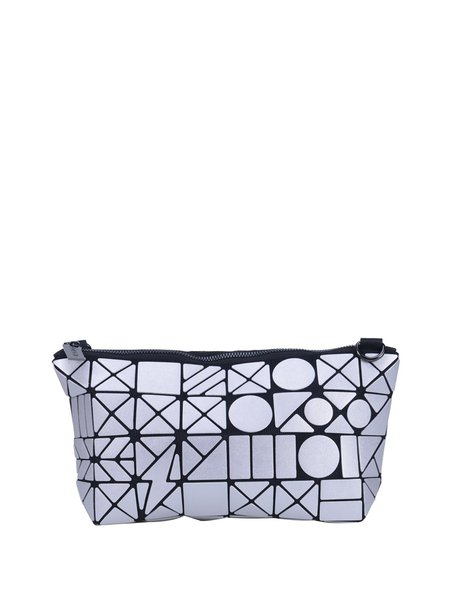 Silver Statement Geometrical Split Joint PU Zipper Shoulder Bag