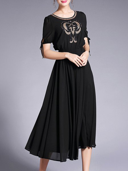Short Sleeve Crew Neck A-line Embroidered Beaded Maxi Dress