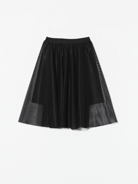 Black Folds A-line Casual Midi Skirt - StyleWe.com
