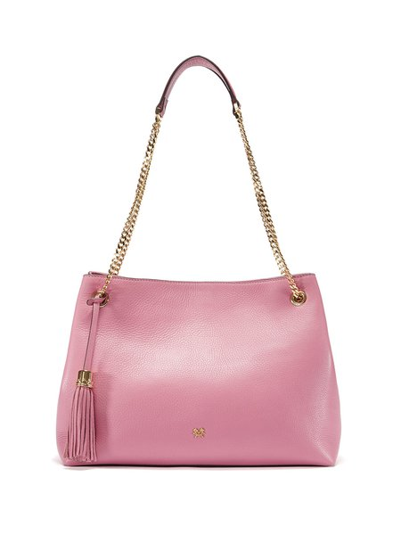 Pink Large Solid Full-grain Leather Magnetic Shoulder Bag