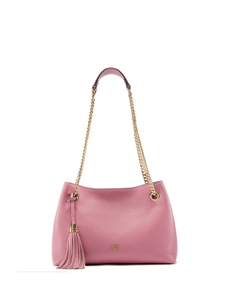 Pink Magnetic Casual Solid Full-grain Leather Crossbody Bag