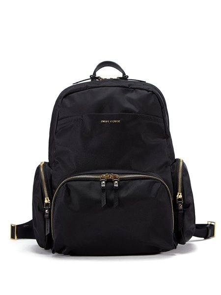 Large Black Pockets Nylon Resort Zipper Backpack - StyleWe.com