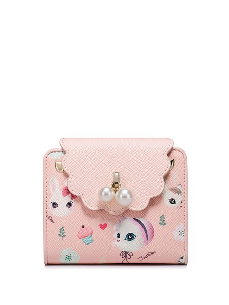 Mini Pink Printed PU Snap Wallet with Beads