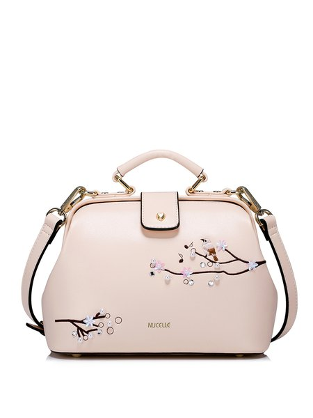 Pink Magnetic Beaded Embroidered PU Sweet Crossbody Bag