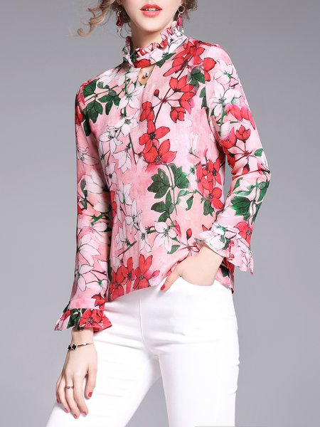 Frill Sleeve Floral-print Casual Blouse