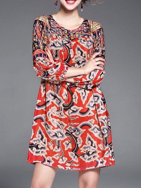 Multicolor Tribal Printed Vintage Mini Dress