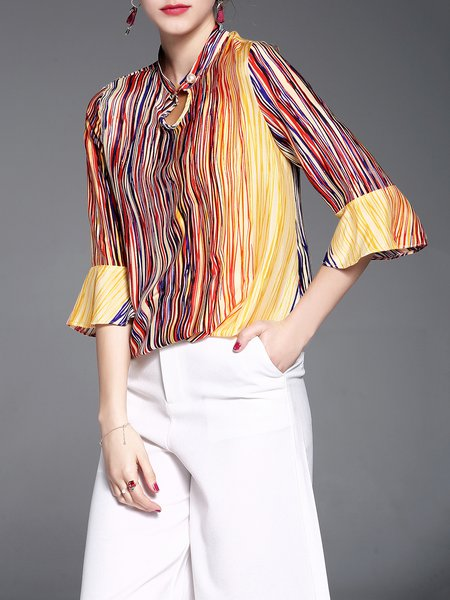 Multicolor 3/4 Sleeve Printed Stripes Blouse