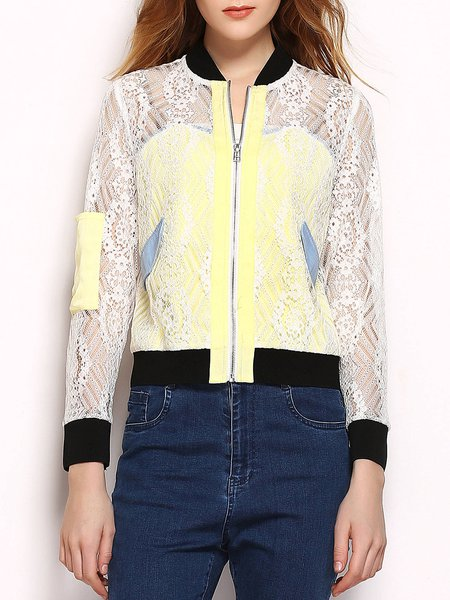 White Guipure Lace Long Sleeve Paneled Sheer Cropped Jacket