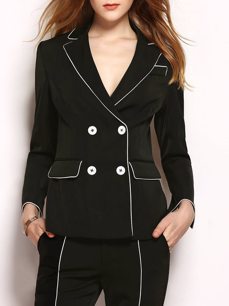 Black Formal Color-block Buttoned Slit Lapel H-line Blazer