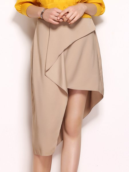 Khaki Casual High Split Asymmetrical Folds Midi Skirt