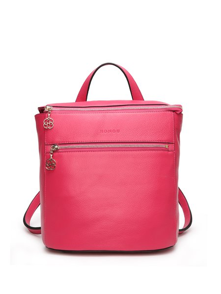 Fuchsia Zipper Solid Full-grain Leather Casual Backpack