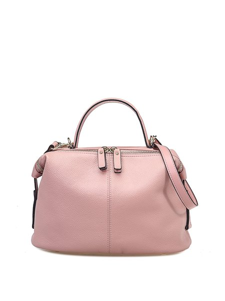 Pink Zipper Casual Solid Full-grain Leather Top Handle