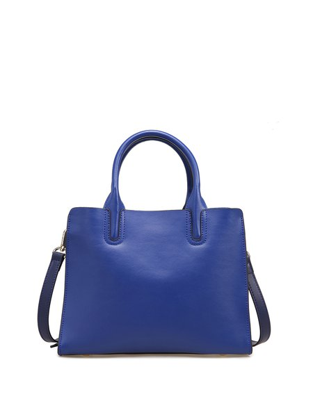 Royal Blue Zipper Solid Simple Split Leather Top Handle
