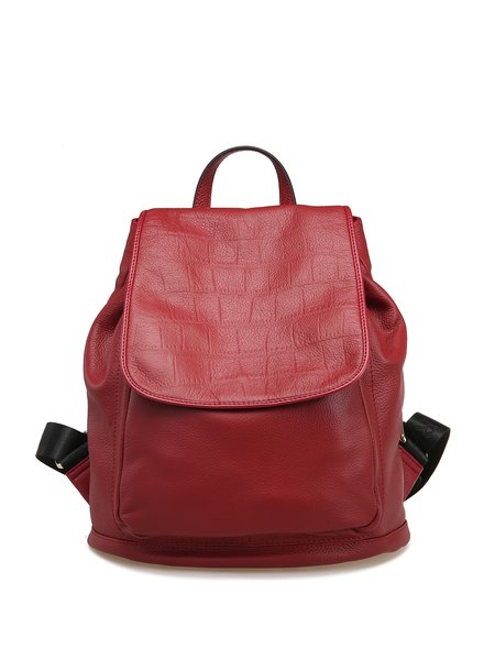 Red Casual Magnetic Embossed Full-grain Leather Backpack