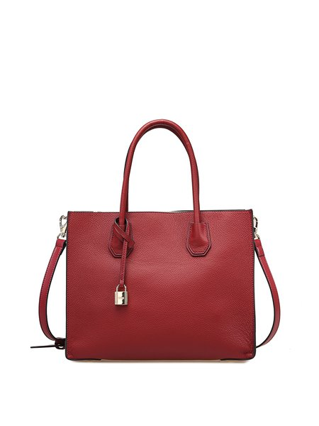 Red Zipper Simple Solid Full-grain Leather Top Handle with Padlock