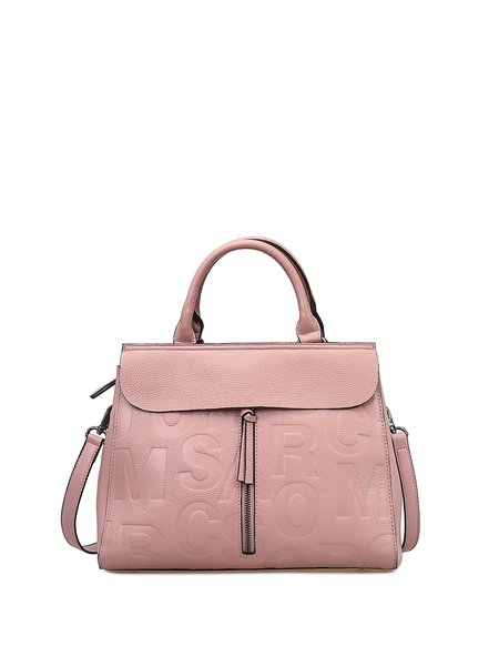 Letter Embossed Zipper Casual Full-grain Leather Top Handle