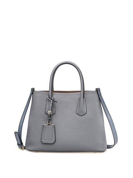 Gray Solid Full-grain Leather Zipper Simple Top Handle