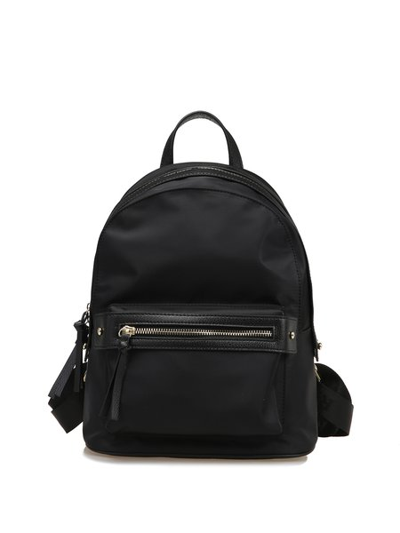 Large Black Zipper Casual Solid Nylon Backpack
