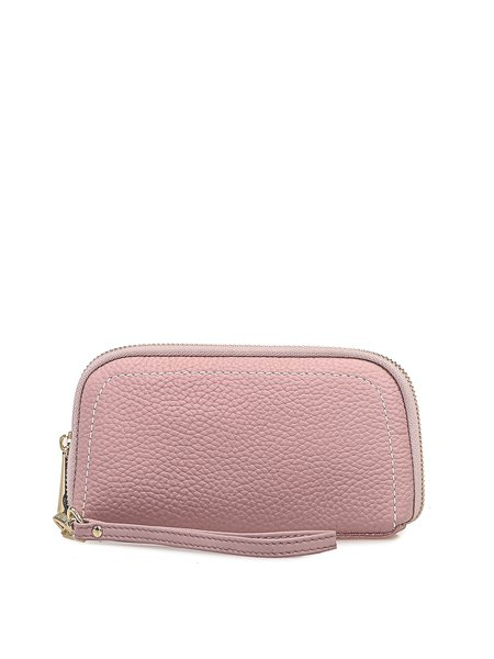 Pink Simple Solid Full-grain Leather Zipper Clutch