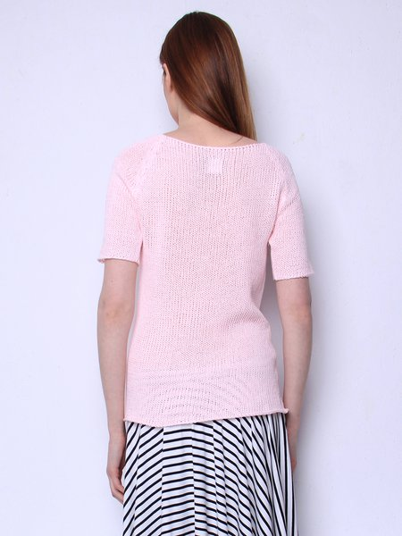 Bright Pink Short Sleeve H-line Solid Knitted Sweater - StyleWe.com